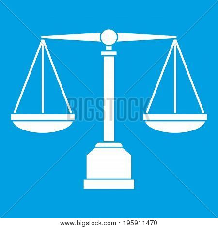Justice scale icon white isolated on blue background vector illustration