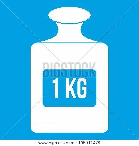 One kilogram weight icon white isolated on blue background vector illustration