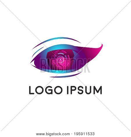 Biometric technologies. Cyber Eye, creative logo. Scanning of the retina.