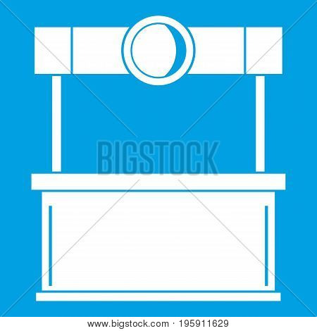 Shopping counter icon white isolated on blue background vector illustration