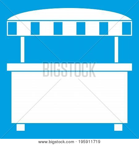 Street stall with awning icon white isolated on blue background vector illustration