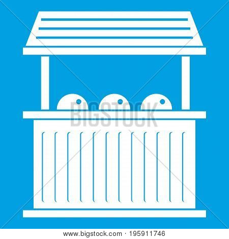 Carnival fair booth icon white isolated on blue background vector illustration