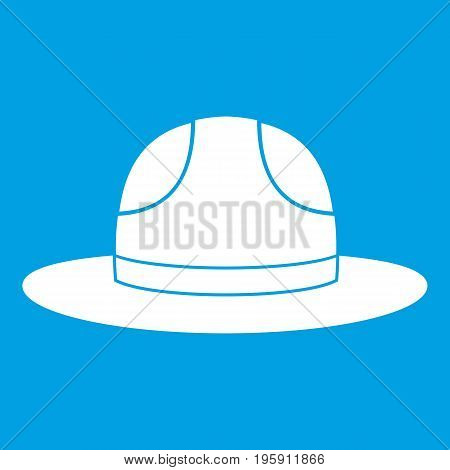 Canadian hat icon white isolated on blue background vector illustration