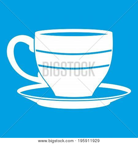 Cup icon white isolated on blue background vector illustration