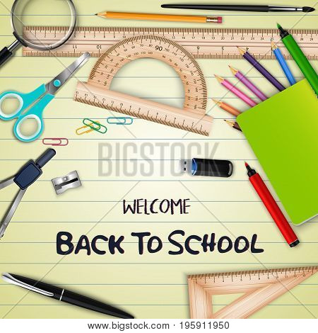 Vector illustration of Welcome back to school with school supplies on notebook paper