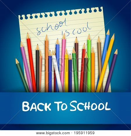 Vector illustration of Back to school with colored pencils on notebook paper