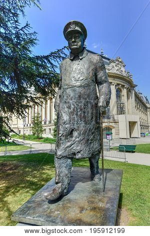Paris, France - May 16, 2017: Statue of Winston Churchill outside the Petit Palais near the Seine River Paris France