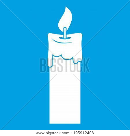 Candle icon white isolated on blue background vector illustration
