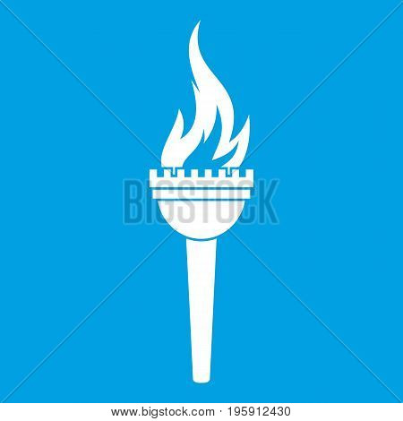 Torch icon white isolated on blue background vector illustration