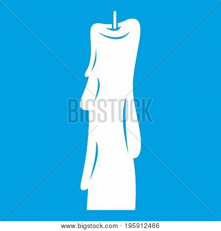 Wax candle icon white isolated on blue background vector illustration