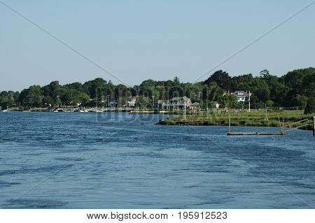 Barrington Rhode Island USA - July 24 2005: Warren River shoreline from East Bay Bike Path