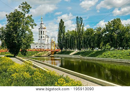 Beautiful city panorama with ancient church on sunny day. Russia, Orel city