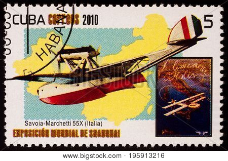 Moscow Russia - July 18 2017: A stamp printed in Cuba shows Savoia-Marchetti S.55 Italian double-hulled flying boat (1924) series