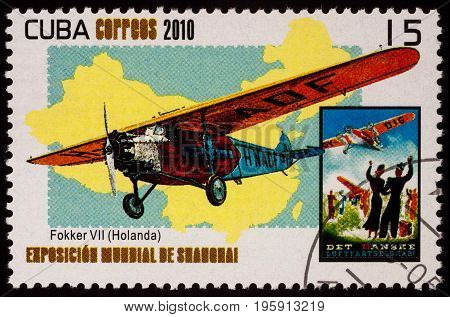 Moscow Russia - July 18 2017: A stamp printed in Cuba shows Fokker D.VII a German World War I fighter aircraft designed by Reinhold Platz series