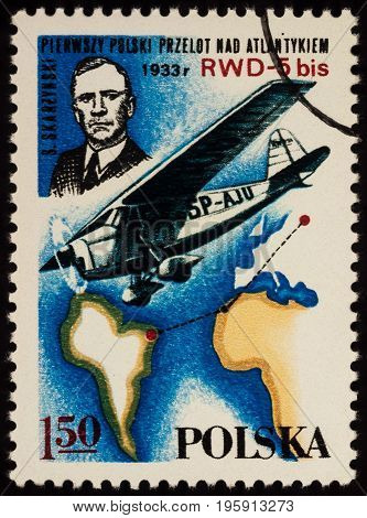 Moscow Russia - July 17 2017: A stamp printed in Poland shows colonel Stanislaw Skarzynski (first Polish transatlantic flight in 1933) series