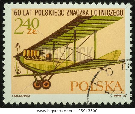 Moscow Russia - July 17 2017: A stamp printed in Poland shows flying old aircraft series