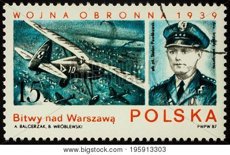 Moscow Russia - July 17 2017: A stamp printed in Poland shows Polish pilot Stefan Pawlikowski air battles over Warsaw series