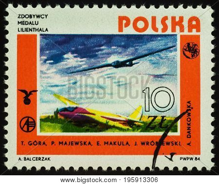 Moscow Russia - July 17 2017: A stamp printed in Poland shows two Polish gliders series