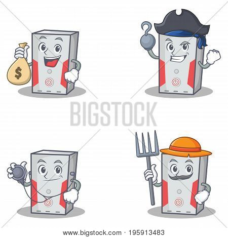 Set of computer character with doctor money bag pirate farmer vector illustration