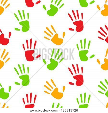 Colorful human hands imprints on white seamless pattern, vector background