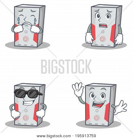 Set of computer character with crying afraid cool waving vector illustration