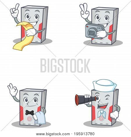 Set of computer character with menu photo waiter binocular vector illustration