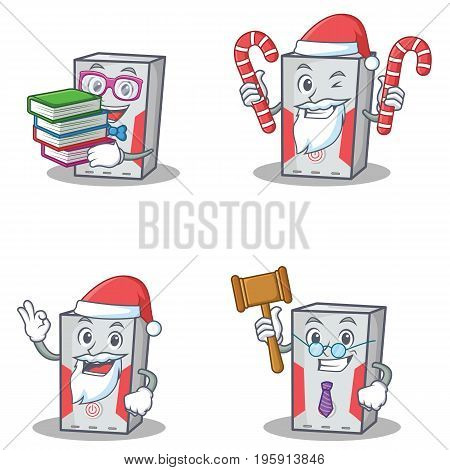 Set of computer character with book Santa candy judge vector illustration