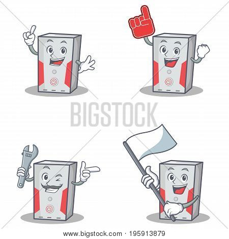 Set of computer character with foam finger flag mechanic vector illustration
