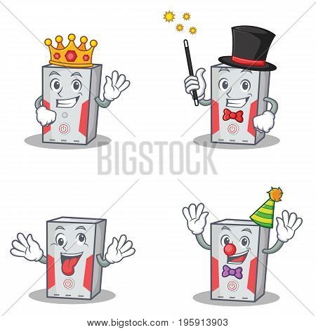 Set of computer character with king magician crazy clown vector art