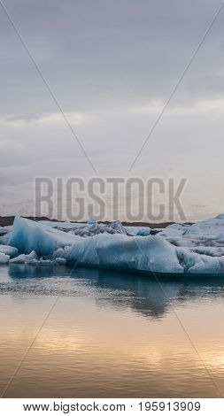 Stunning Glacier Lagoon Of Iceland. Majestic Nature Beauty