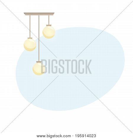 Ceiling lamp background. Interior chandelier light design vector illustration. Cartoon interior decor elements.