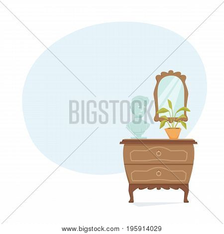 Interior of living room or bedroom with commode, figurine, mirror and potted plant. Bedside table vector illustration. Cartoon cabinet background. Interior decor elements.