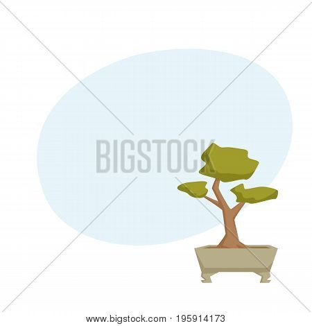 Bonsai in pot. Interior home and office houseplant cartoon vector illistration. Japanese flower growth and gardening.
