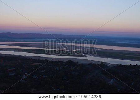 Hot air ballooning on top of Bagan, Myanmar