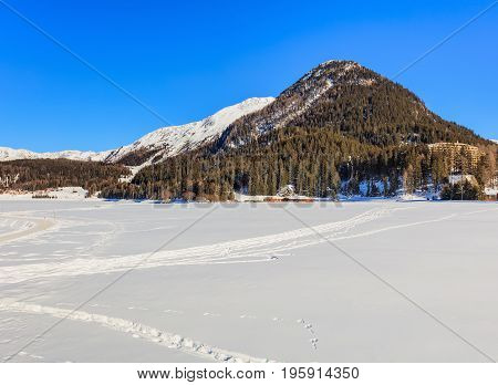 The Seehorn mountain in Switzerland as seen from the town of Davos in the Swiss canton of Graubunden in wintertime.
