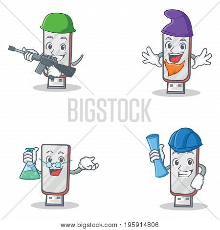 Set of flashdisk character with army elf professor architect vector illustration