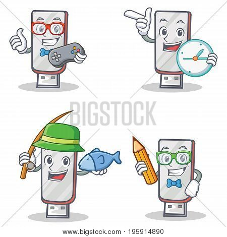 Set of flashdisk character with gamer clock fishing student vector illustration