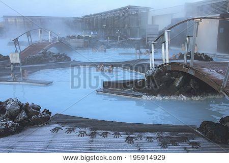 REYKJAVIK, ICELAND - January 1, 2013: Scene of the Blue Lagoon with bathers on the Reykjavik Peninsula
