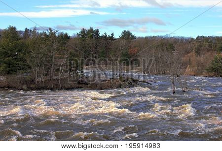 Roar from the big Merrimac River near Concord, New Hampshire