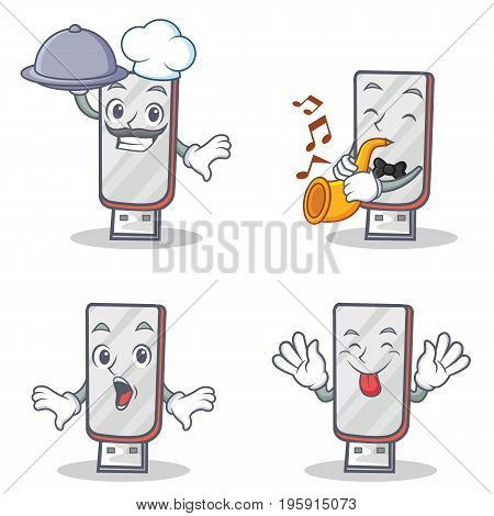 Set of flashdisk character with chef trumpet suprised tongue out vector illustration