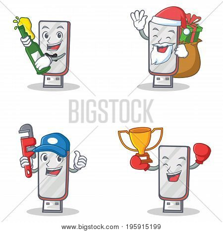 Set of flashdisk character with beer gift plumber winner vector illustration
