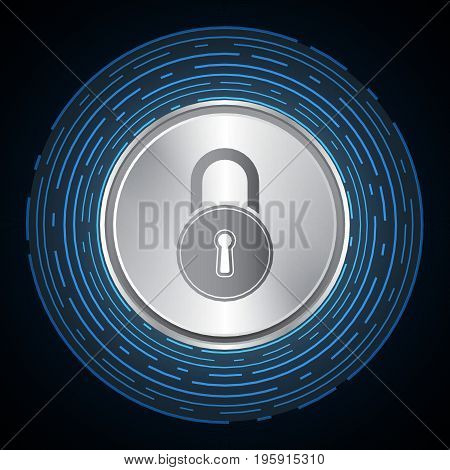 Technology Digital Cyber Security Lock Circle Background