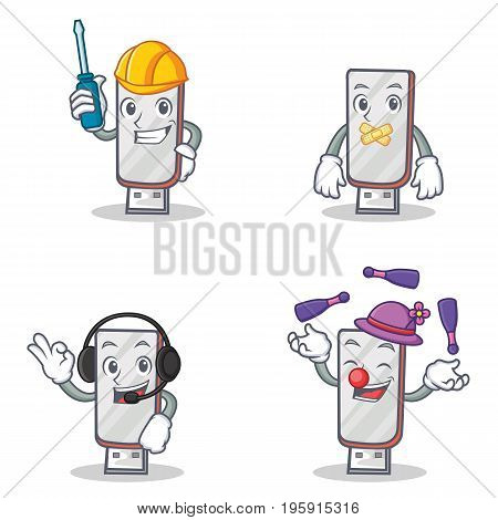Set of flashdisk character with automotive silent headphone juggling vector illustration