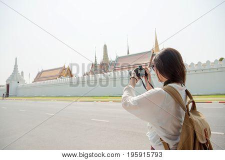 Asian Woman Tourist City Street Lifestyle
