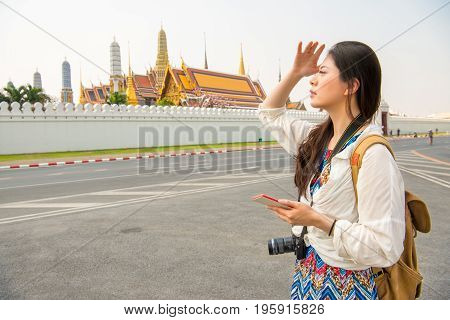 Woman Tourist On Grand Palace Of Thailand