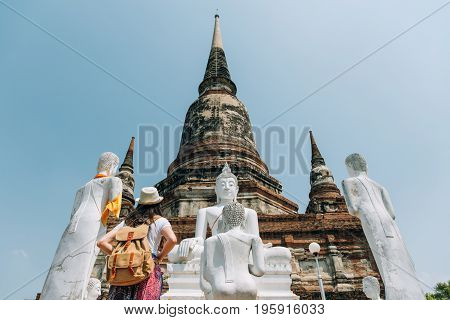 Woman Tourist In Wat Yai Chai Mongkhon