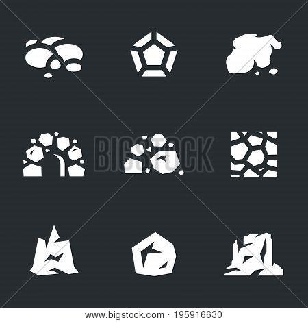 Pebble, diamond, ore, cave, coal, wall, mountain, boulder, canyon.