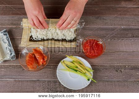 Japanese Chef Making Salmon Sushi - Japanese Food