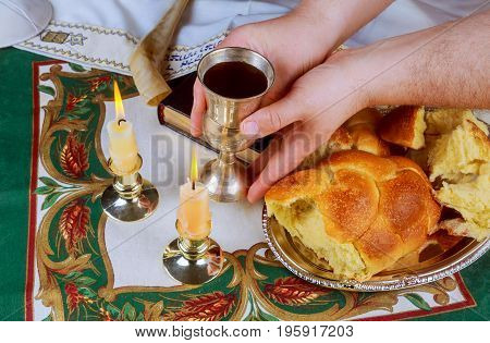 Sabbath Image. Challah Bread, Sabbath Wine And Candelas On Wooden Table