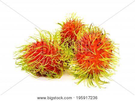 Fresh rambutan fruit on white background asia fruit